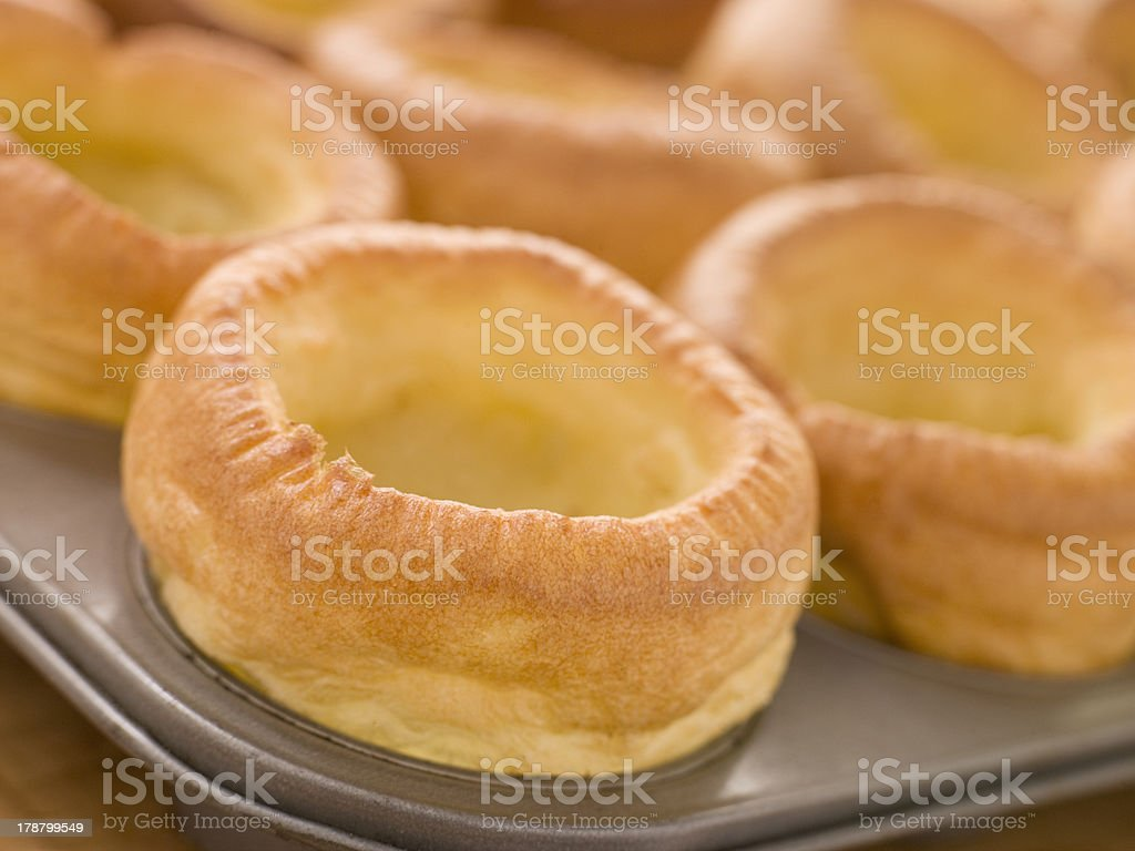 Tray of Yorkshire Puddings stock photo