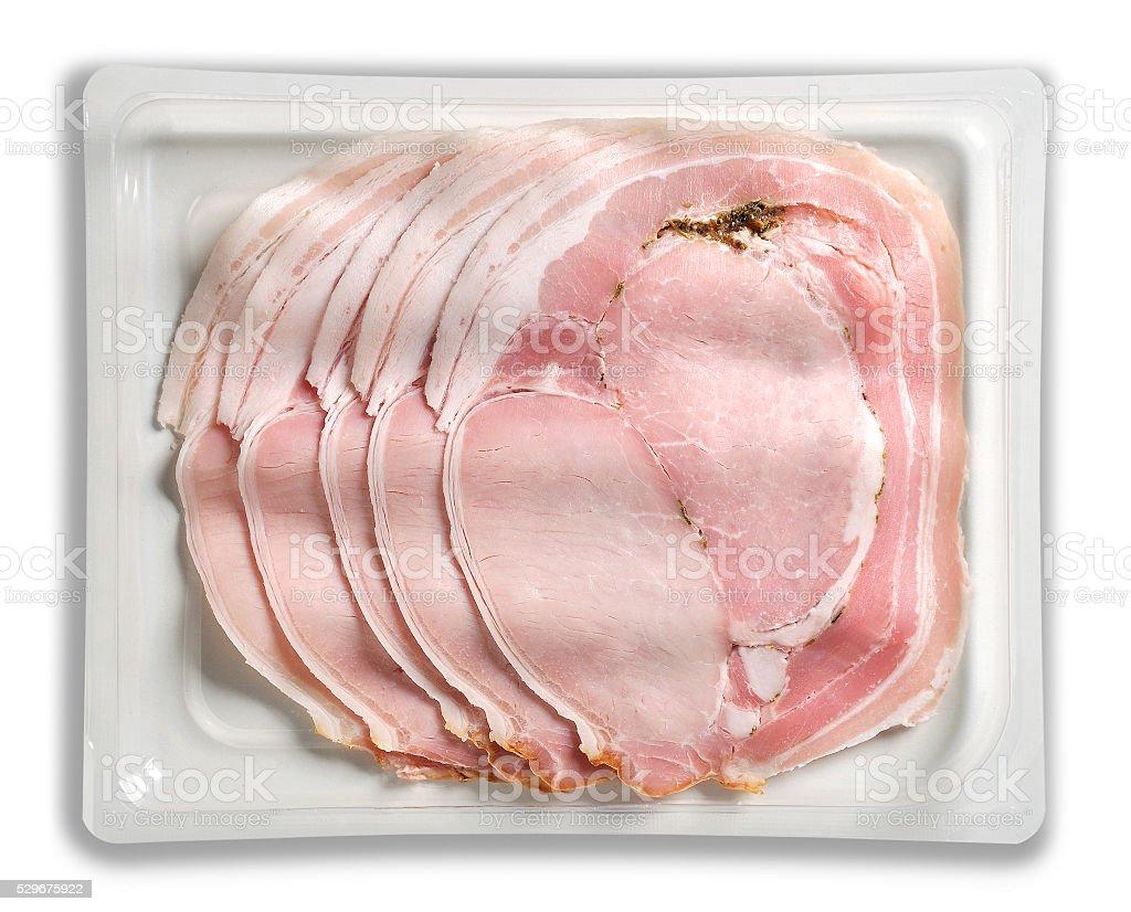 Tray Packaged of Presliced Baked Ham Porchetta stock photo