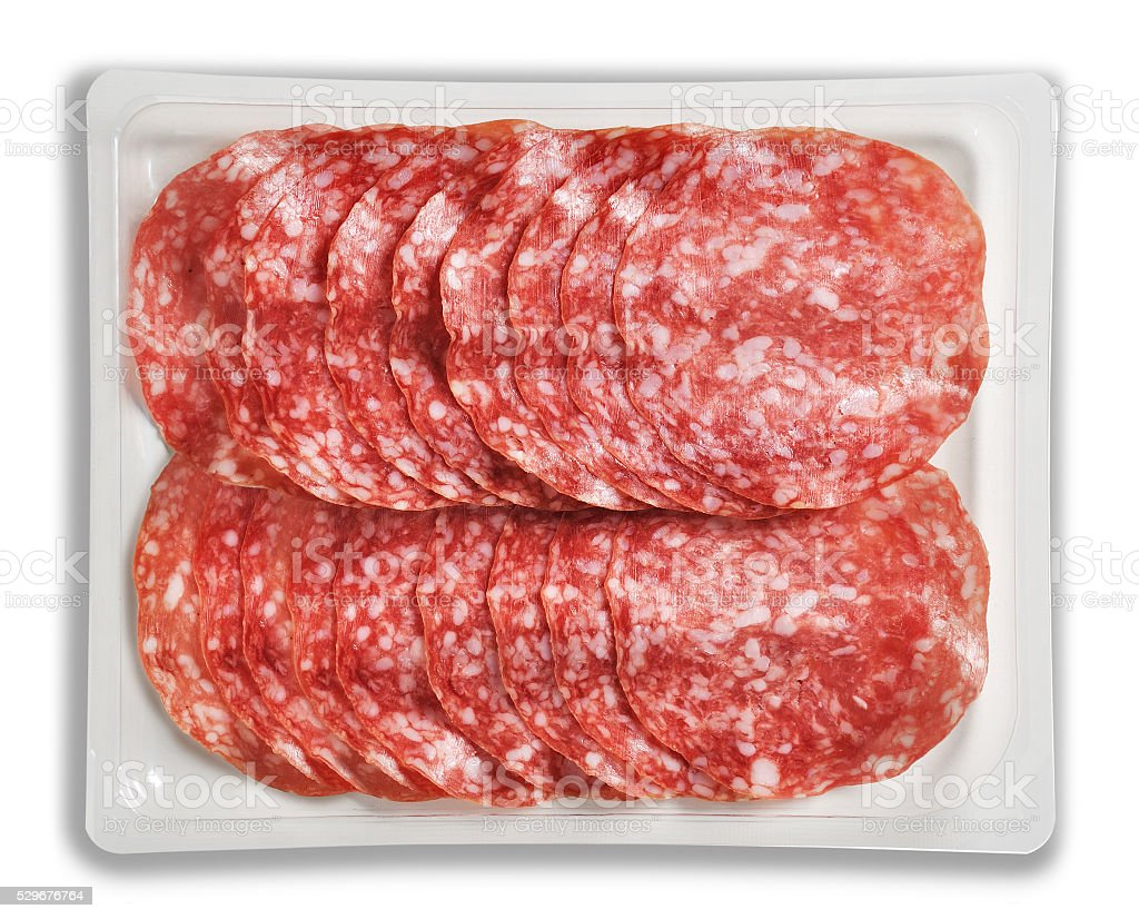 Tray Packaged of Presliced Salame stock photo