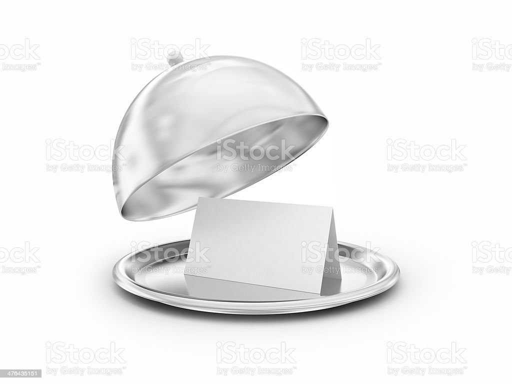 Tray with blank card stock photo