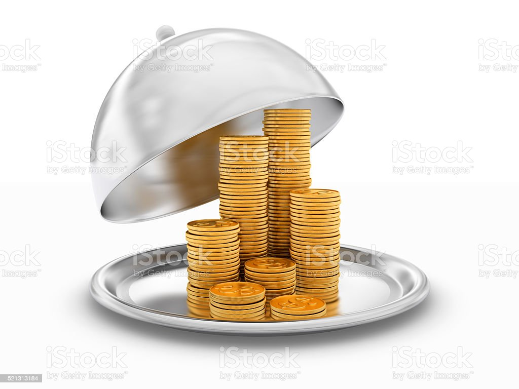 Tray with coins stock photo