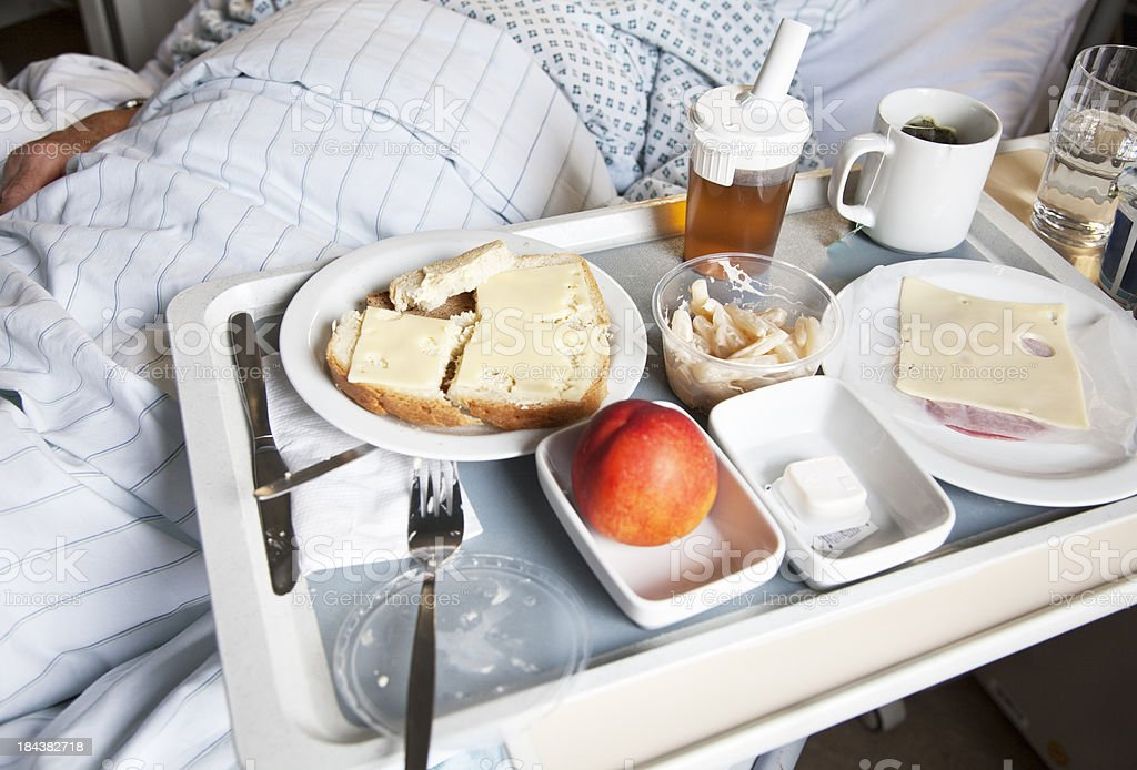 tray with food in hospital stock photo