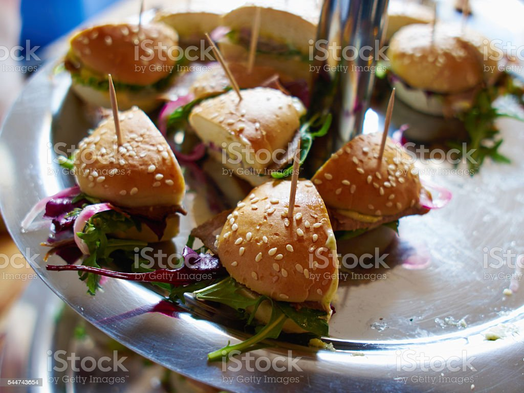 Tray with Mini Bite size sandwich appetizers stock photo