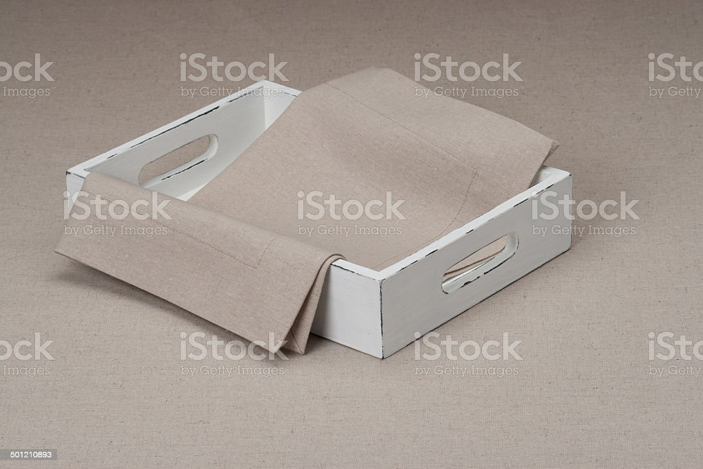 Tray With Natural Linen Napkin And Table Cloth royalty-free stock photo