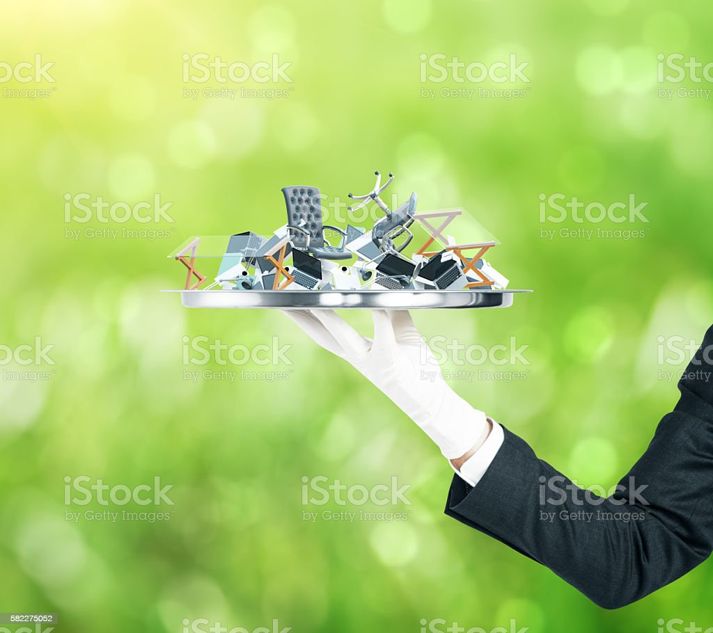 Tray with office tools stock photo