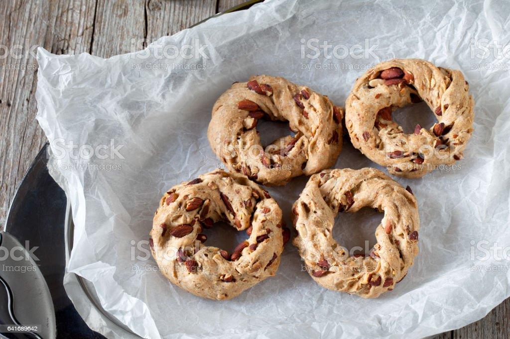 Tray With Taralli Cookies stock photo