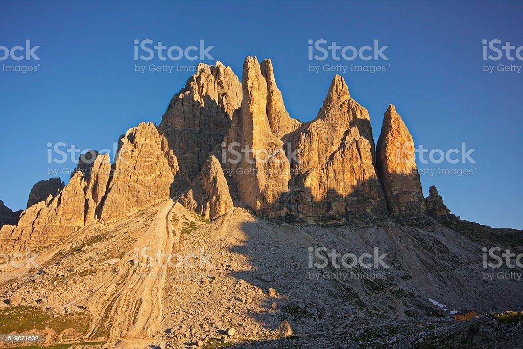 Tre Cime di Lavaredo all'alba stock photo