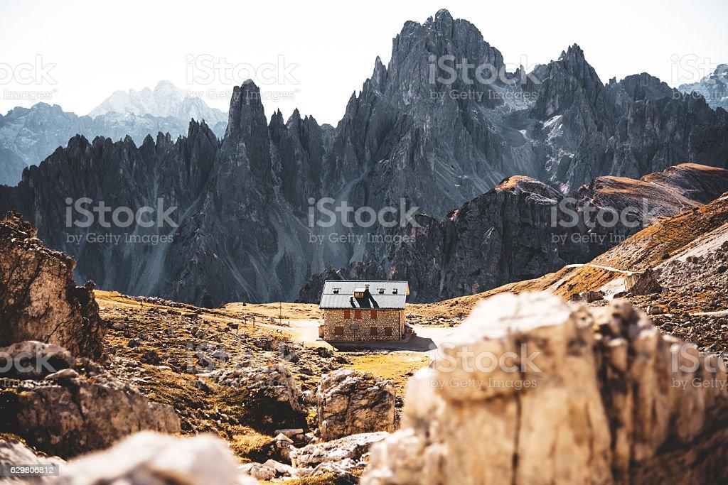 tre cime di lavaredo alps mountain landscape stock photo