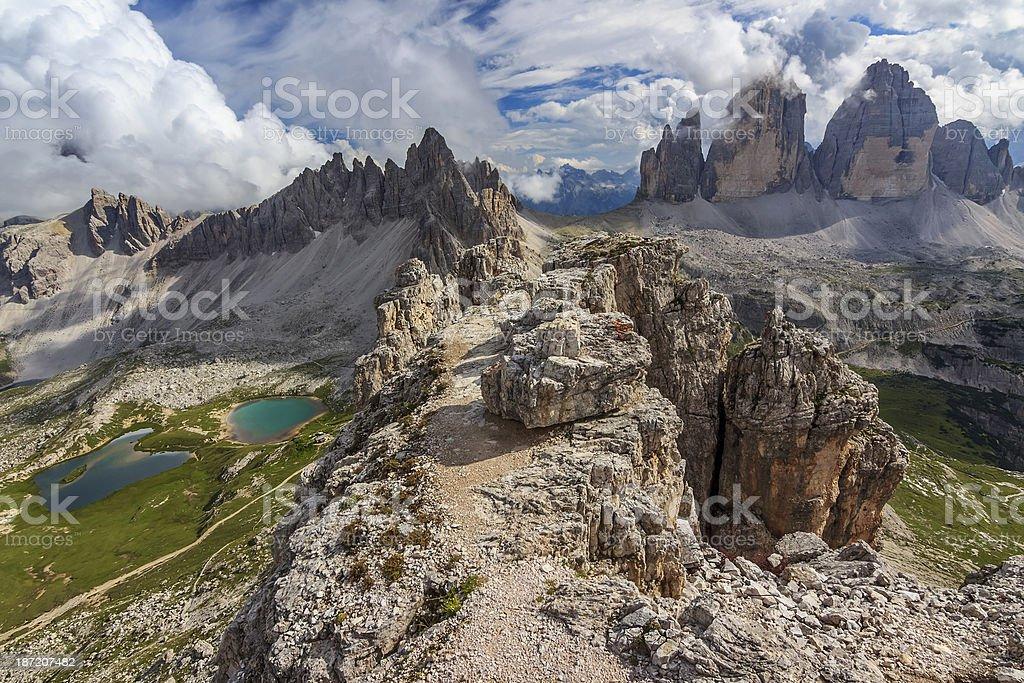 Tre Cime Di Lavaredo and Monte Paterno,Dolomites,Italy Alps royalty-free stock photo
