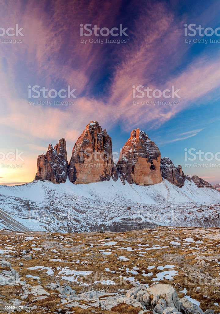 Tre Cime Dolomite Alps, Italy stock photo
