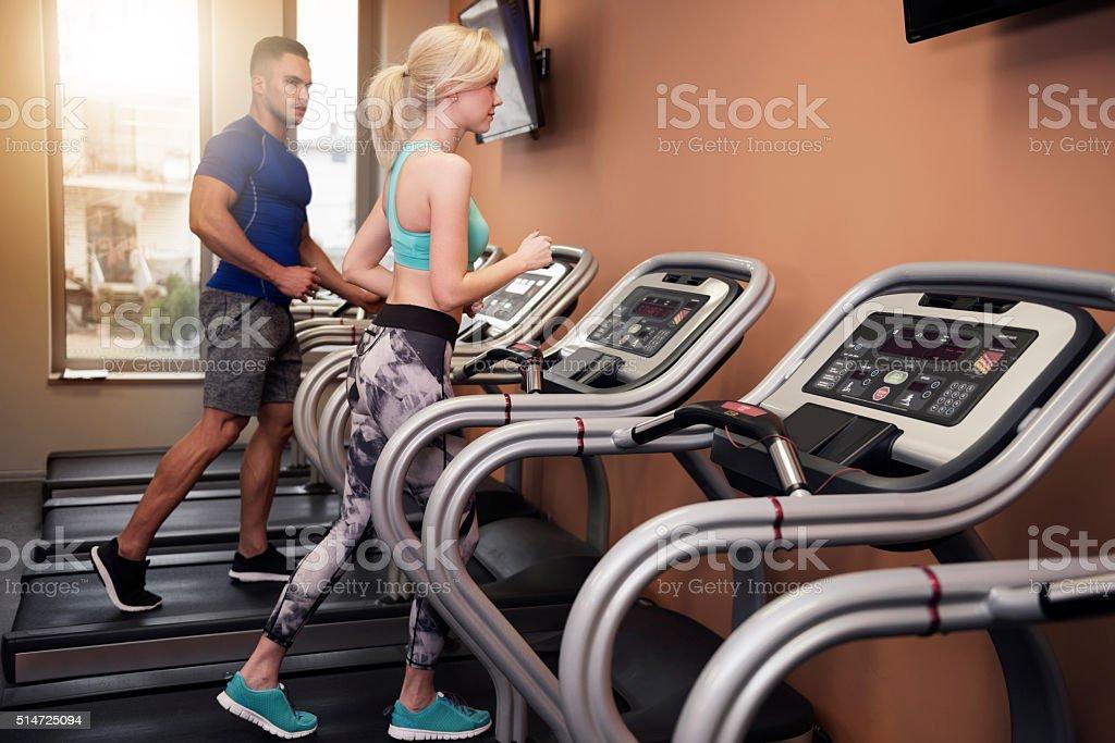 Treadmill as perfect cardio machine stock photo