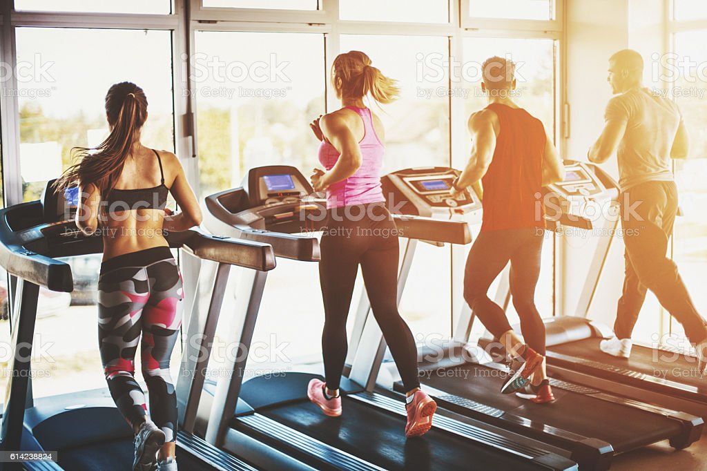 Treadmill exercise. stock photo