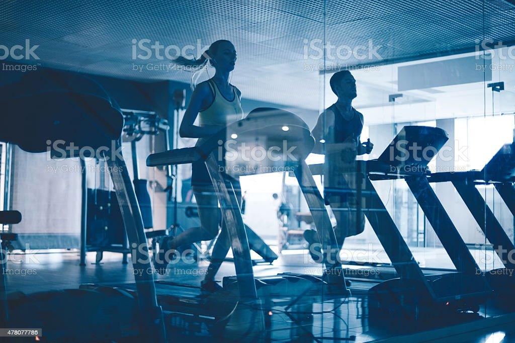 Treadmill workout stock photo