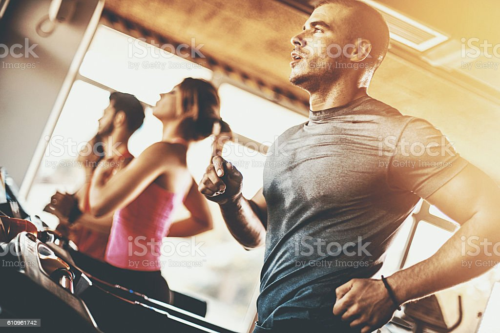 Treadmill workout. stock photo
