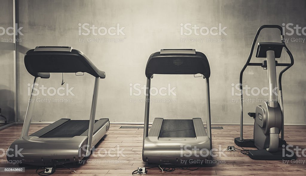 Treadmills exercise machines stock photo