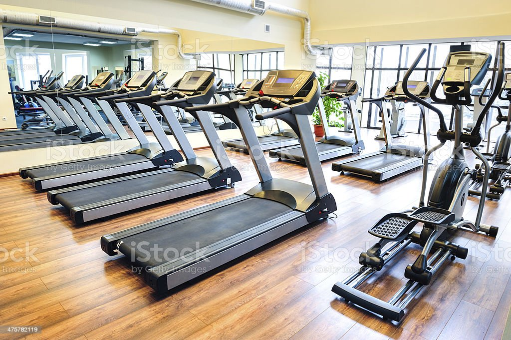 Treadmills in the gym stock photo