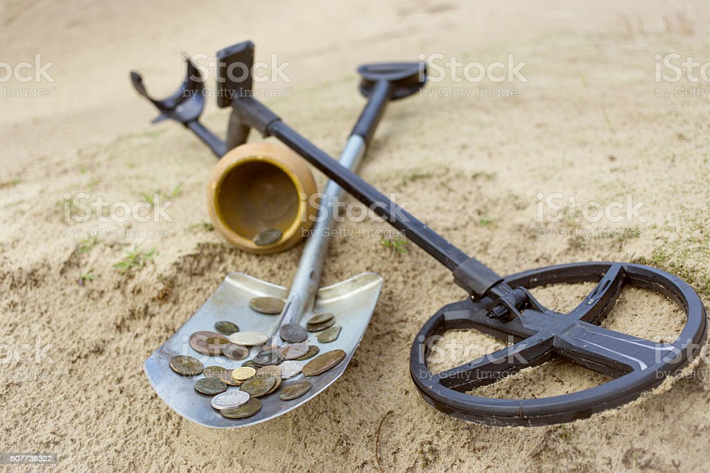 Treasure ancient coins dug out of the ground. stock photo