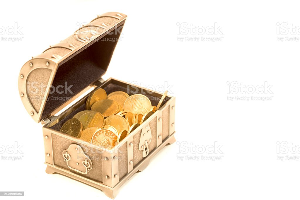 Treasure chest and gold coins stock photo