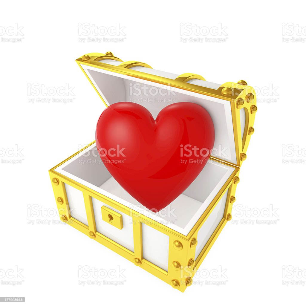 Treasure chest containing the heart royalty-free stock photo