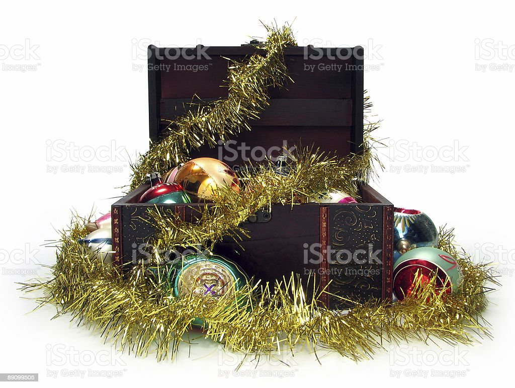 Treasure chest full of Christmas decorations royalty-free stock photo
