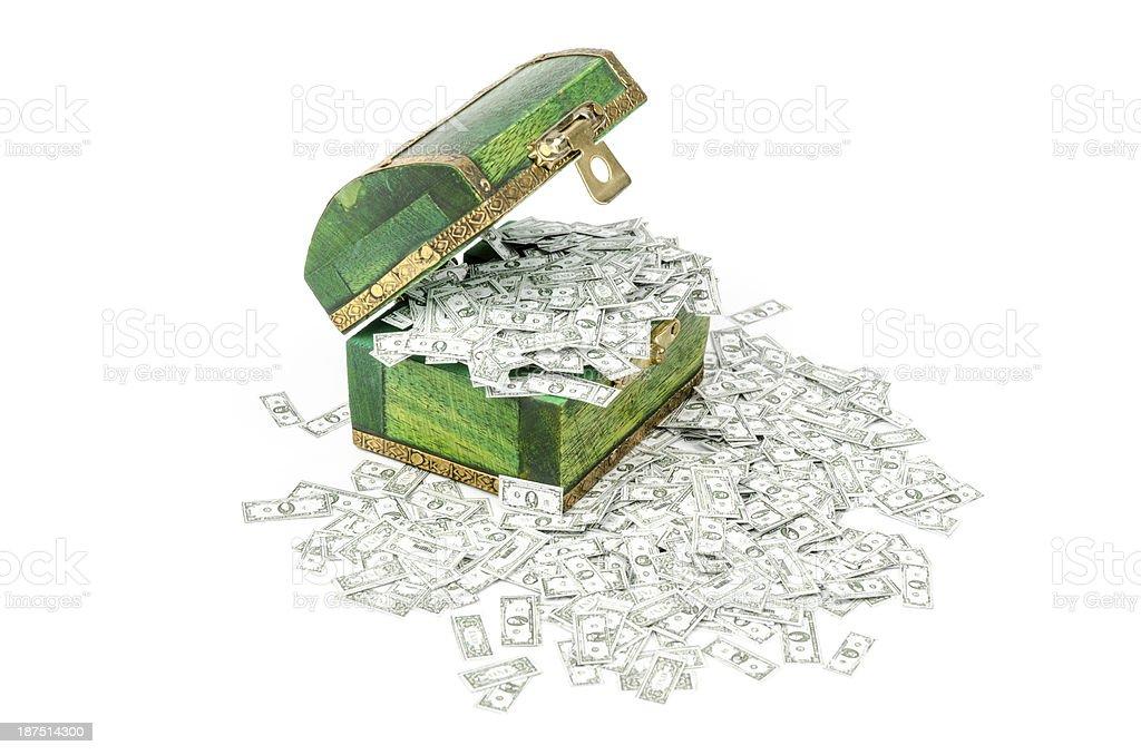 Treasure chest full of Dollar notes royalty-free stock photo
