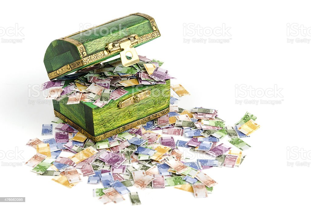 Treasure chest full of euro notes royalty-free stock photo
