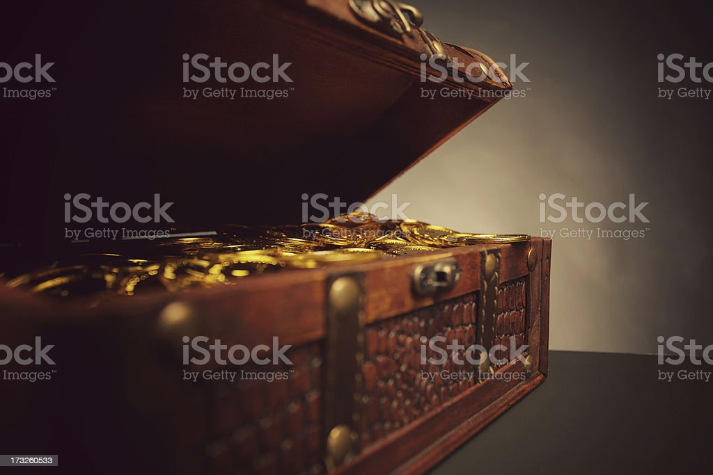 treasure chest full of gold royalty-free stock photo