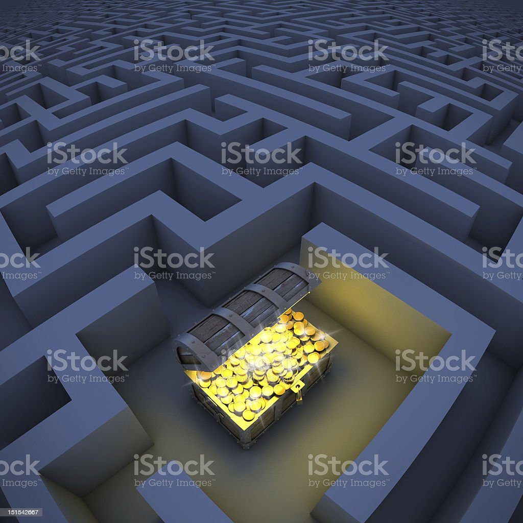 treasure chest in labyrinth stock photo