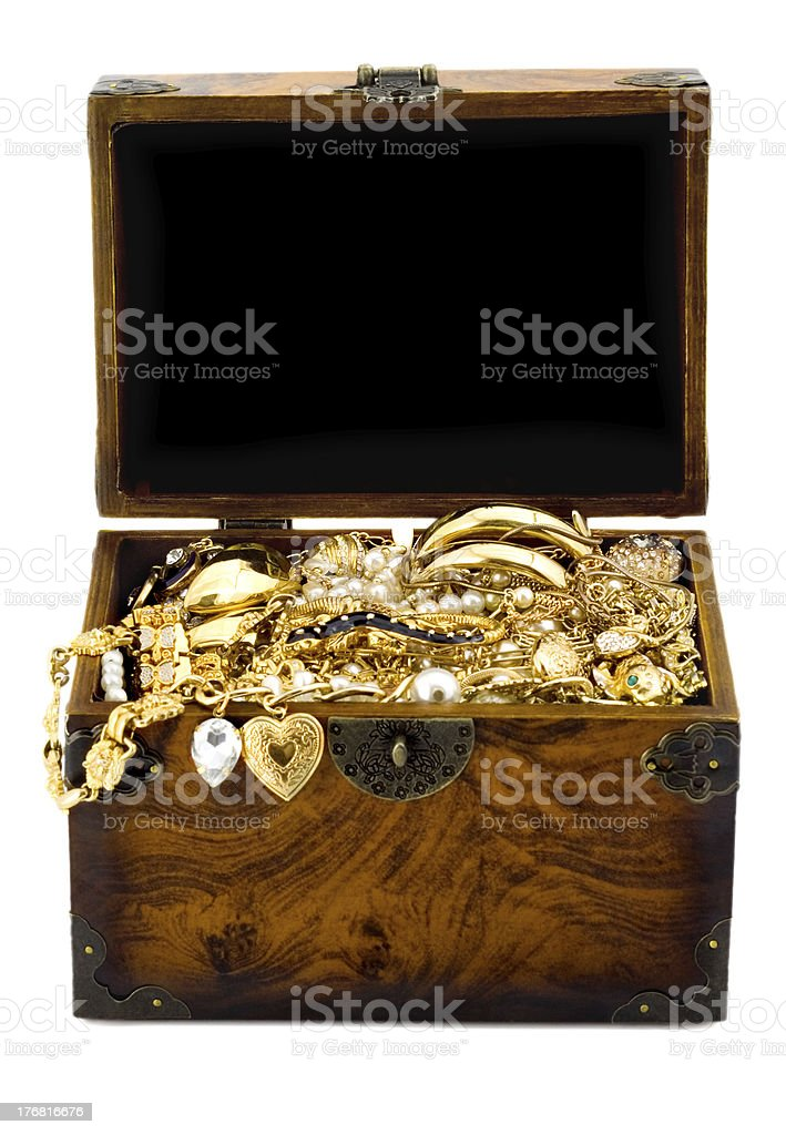 Treasure chest isolated on white background royalty-free stock photo