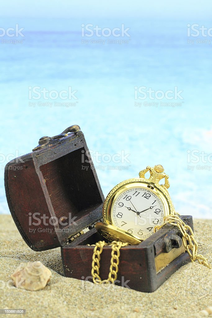 Treasure chest on a beach royalty-free stock photo