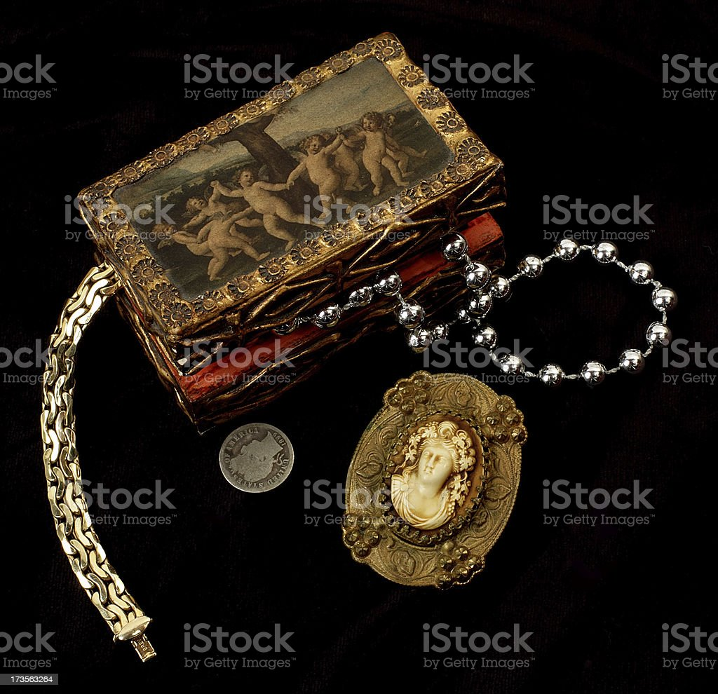 Treasure chest on black stock photo