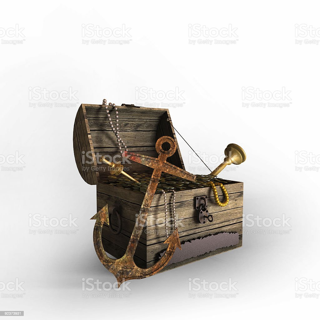 Treasure Chest on White Back royalty-free stock photo