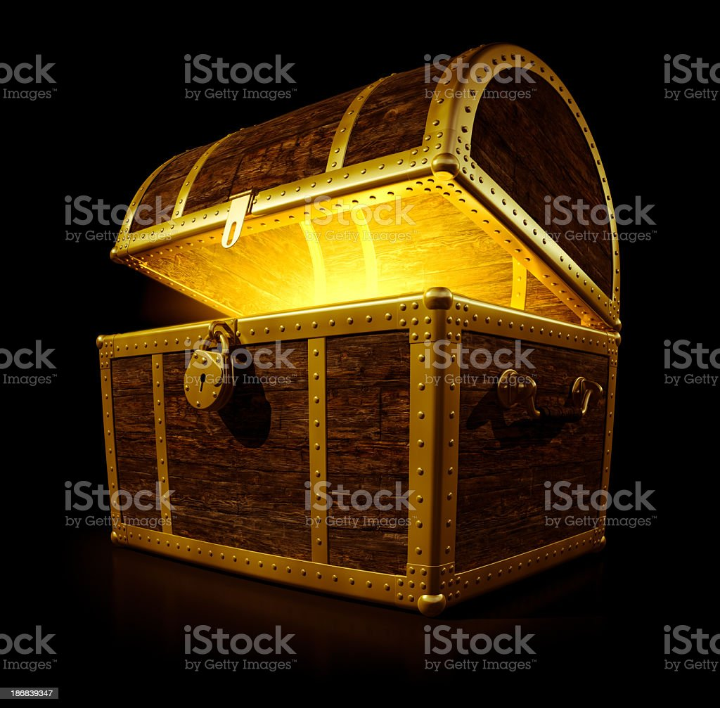 A treasure chest with a glowing light stock photo