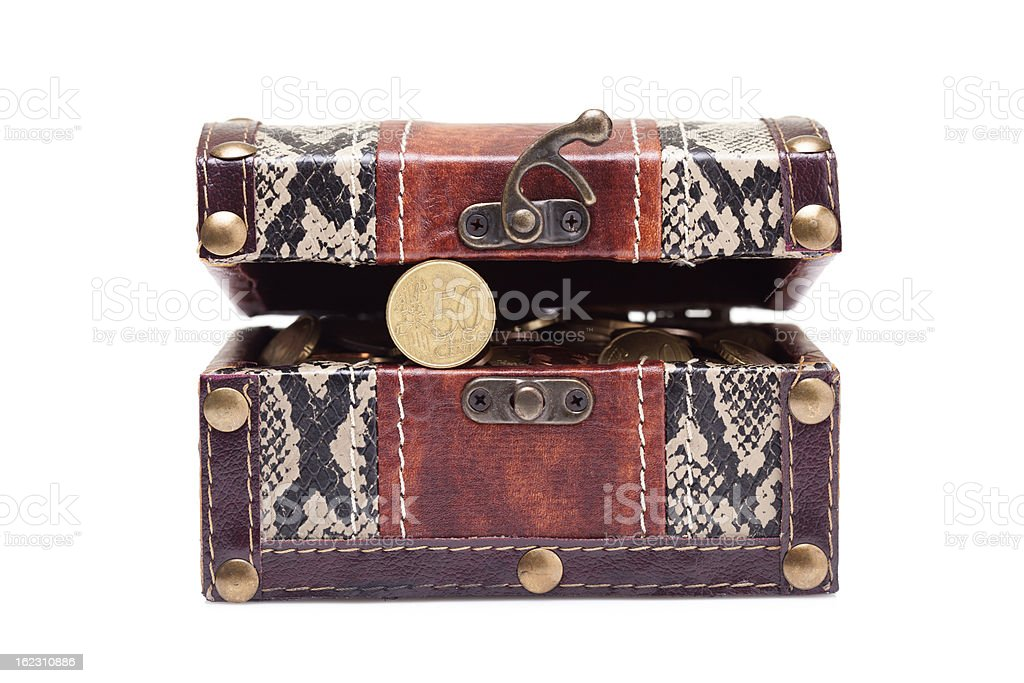 treasure chest with coins royalty-free stock photo
