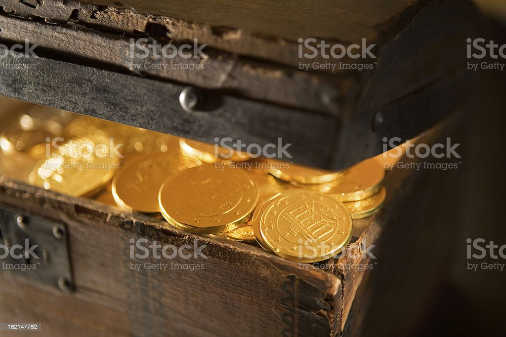 Treasure Chest with Gold Coins Close-Up royalty-free stock photo