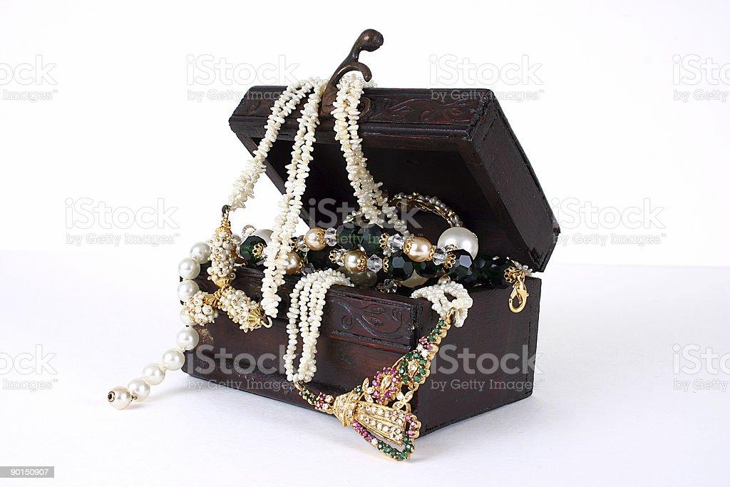 Treasure chest with jewelery. royalty-free stock photo