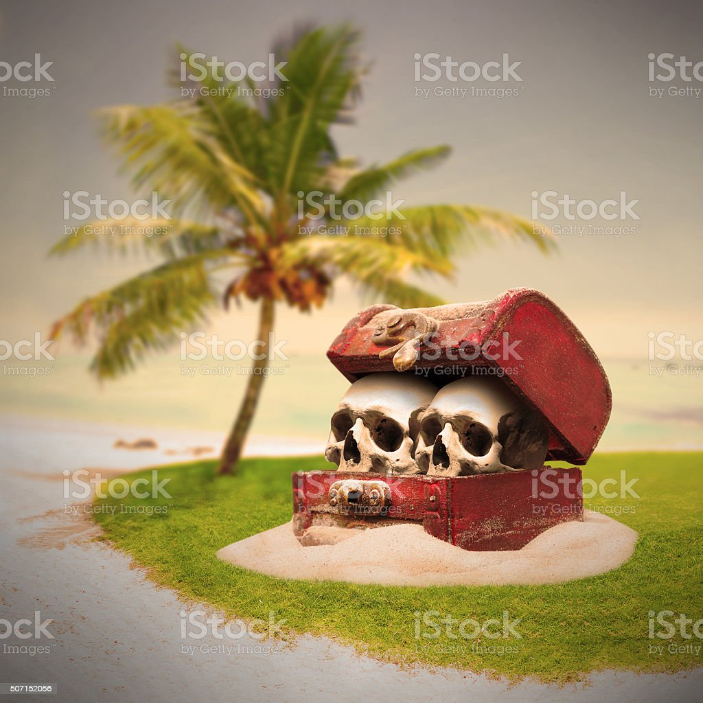 Treasure chest with skulls. stock photo