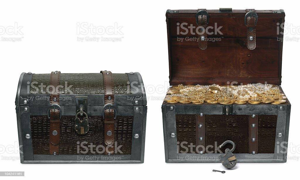 Treasure Chests on white stock photo
