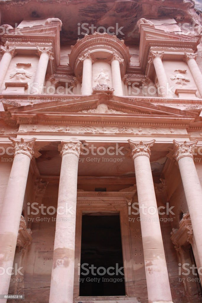 Treasure house in ancient nabatean city of Petra in Jordan, Middle East stock photo