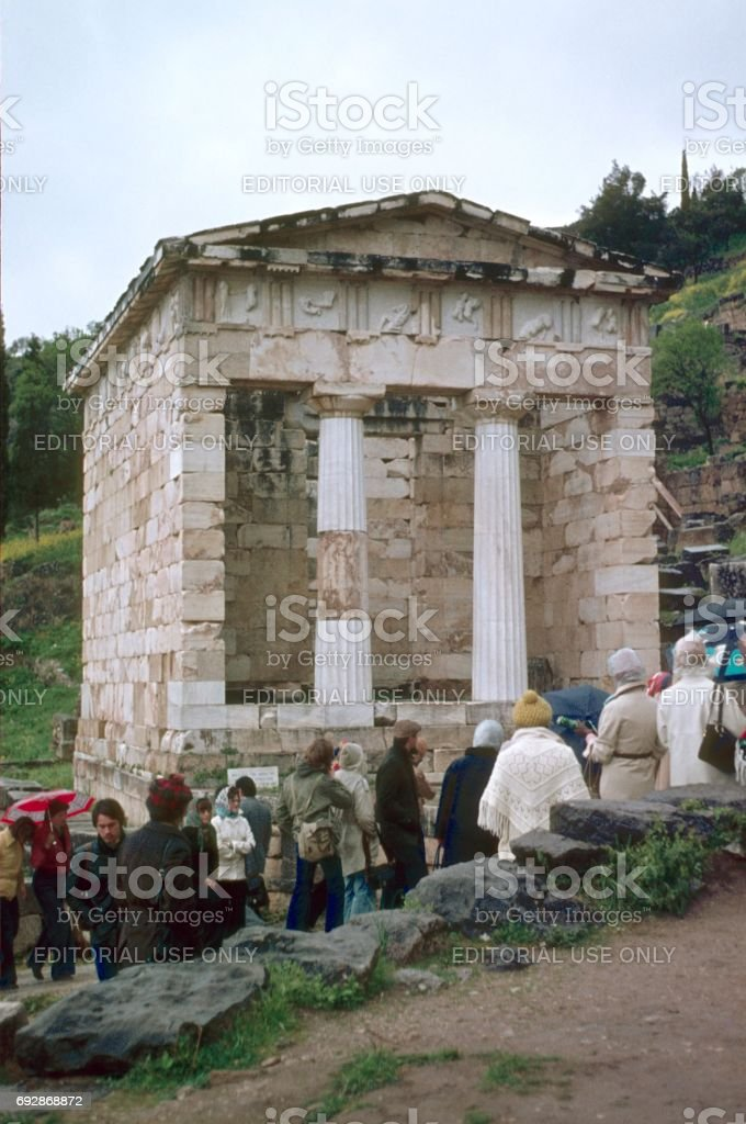Treasure House of the Athenians in Delphi stock photo