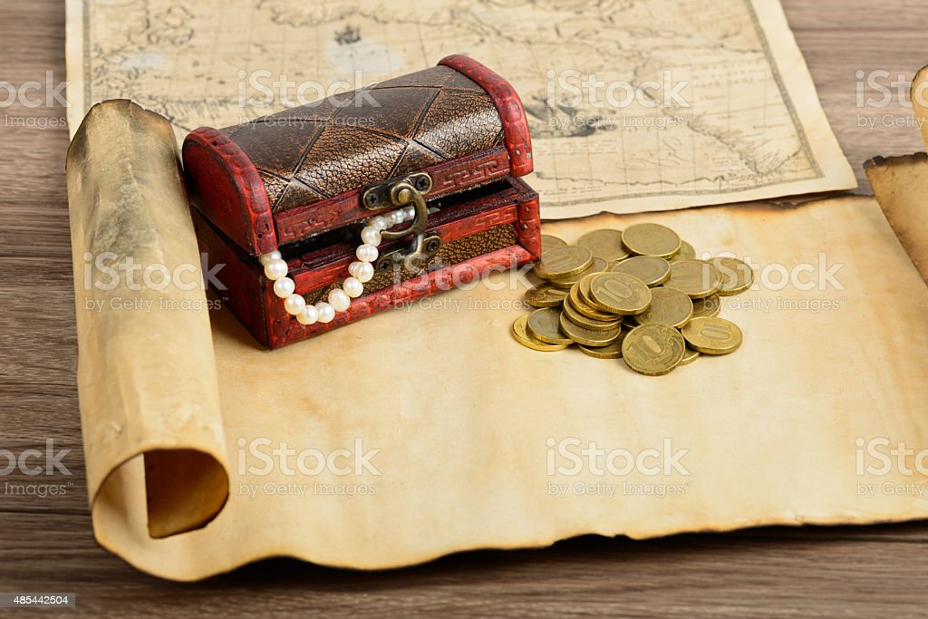 Treasure map and chest stock photo