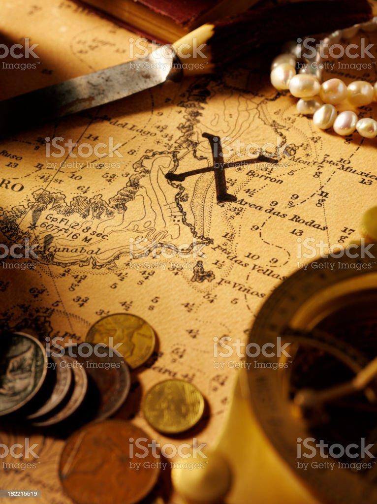Treasure Map and Nautical Equipment royalty-free stock photo