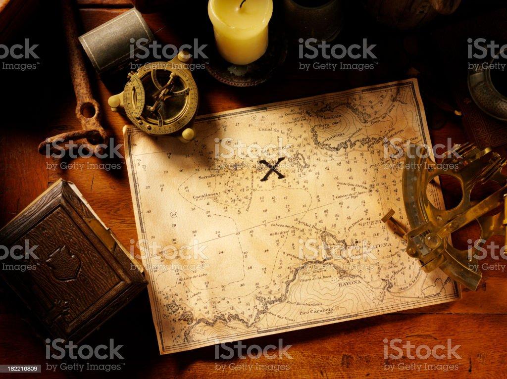 Treasure Map and Nautical Equipment stock photo