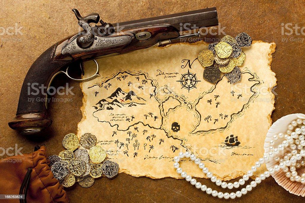 Treasure Map and Pistol. Full Frame. XXXL royalty-free stock photo