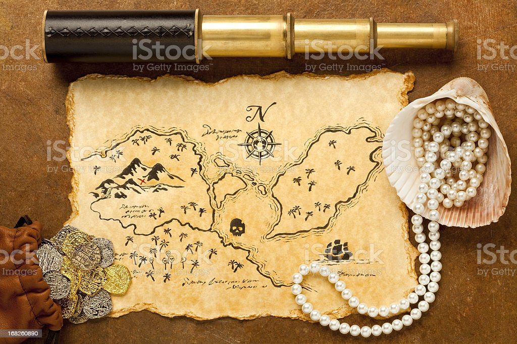 Treasure Map and Spy Glass. Full Frame. XXXL royalty-free stock photo