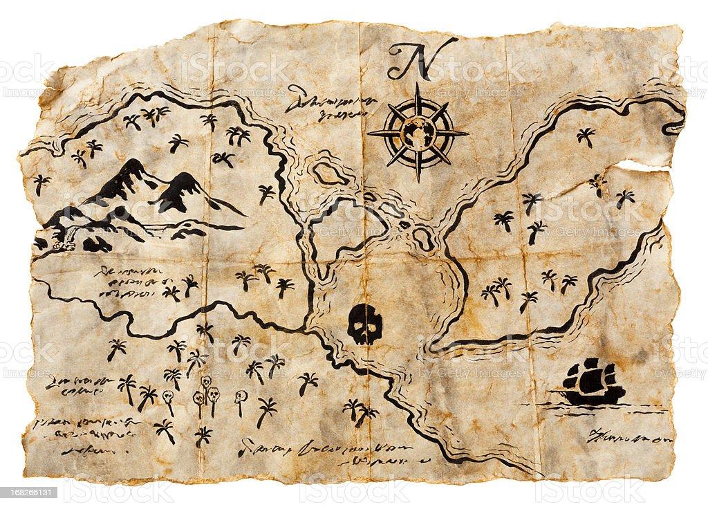 Treasure Map Isolated on White. Horizontal, XXXL stock photo