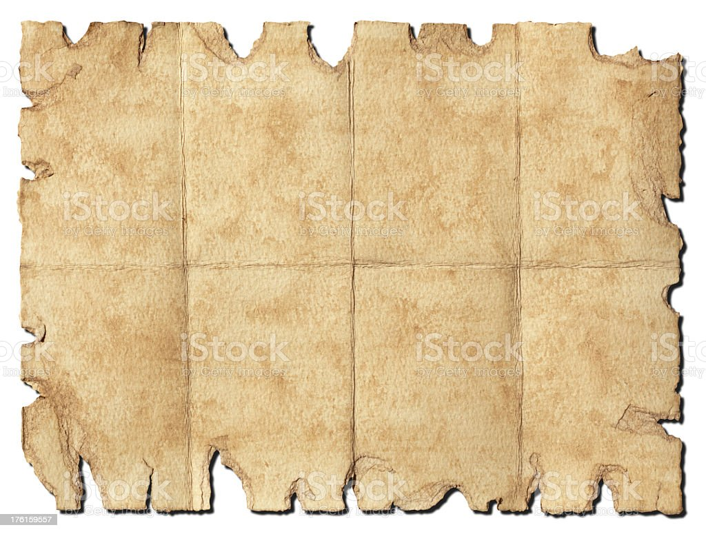 Treasure Map - Old, Distressed, Torn, Blank Paper. Clipping Path. royalty-free stock photo
