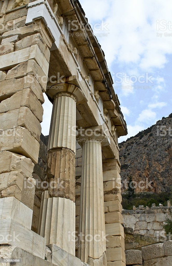 Treasure of the Athenians at Delphi archaeological site in Greece royalty-free stock photo