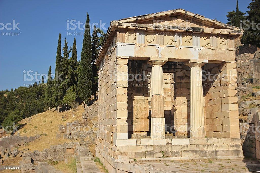 Treasure of the Athenians at Delphi, Greece stock photo
