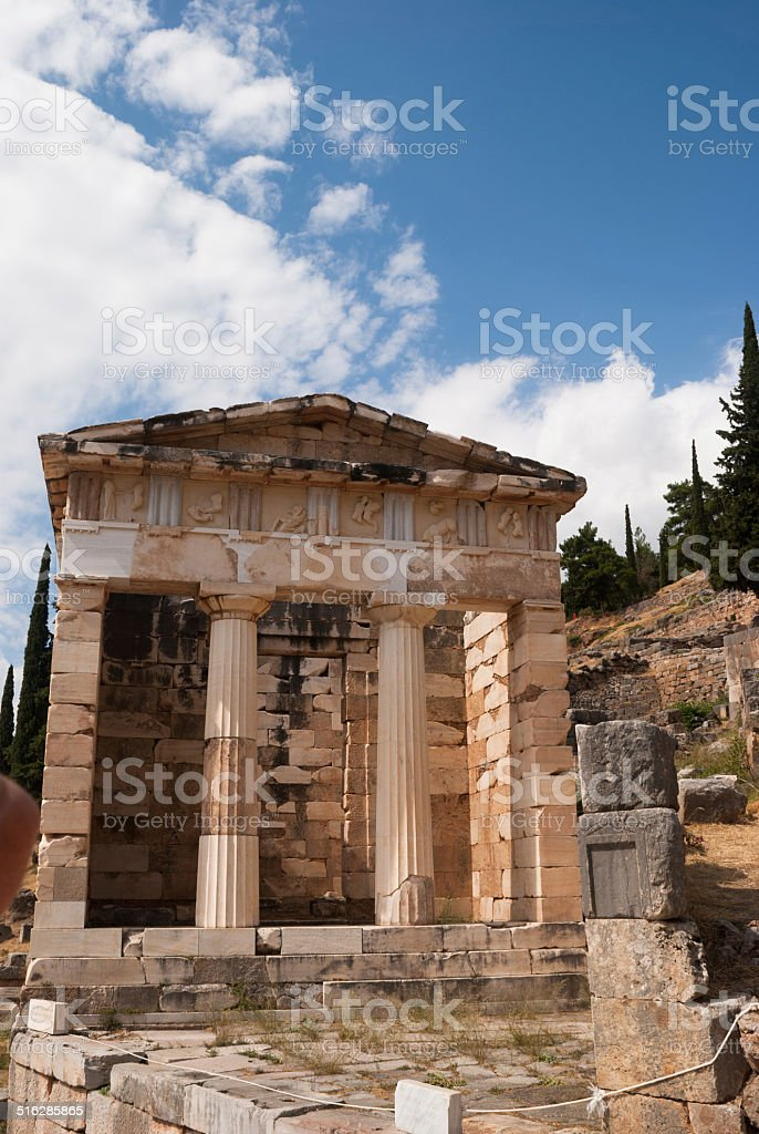Treasure of the Athenians at Delphi oracle archaeological site i stock photo